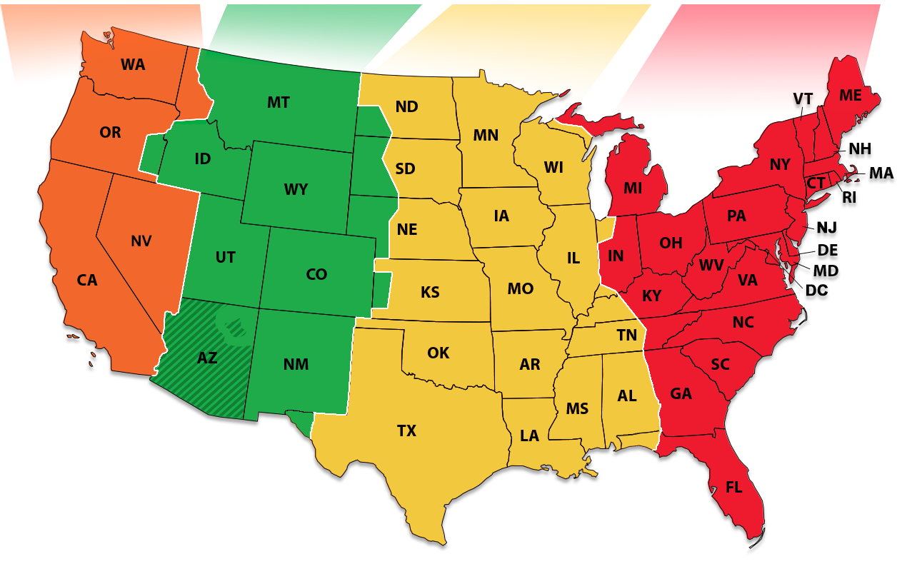Time Zone Map With Times National Institute of Standards and Technology | NIST